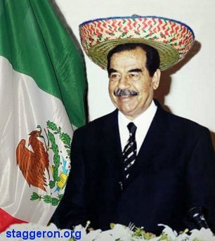 saddam hussein is a mexican report says, as he wears sombrero