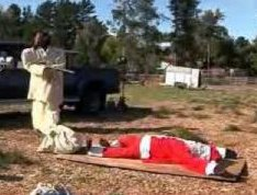 Jesus Shoots Santa In Christmas Display