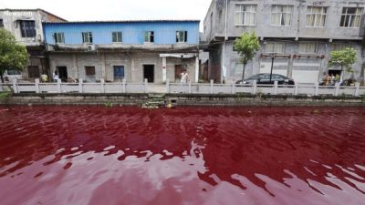 Residents say Chinese river turned blood red within an hour