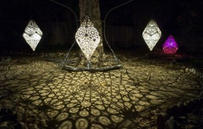 The starlight garden with celestial shadows at the Enchanted Forest of Lights at Descanso Gardens