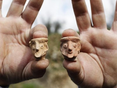 figurines at Tel Motza archaeological site on the outskirts of Jerusalem.