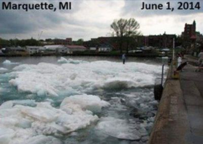 Huge chunks of ice remain near Marquette on Sunday, June 1, 2014