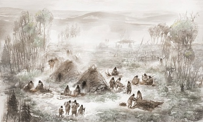An illustration of ancient Native Americans in what is today called the Upward Sun River site in central Alaska