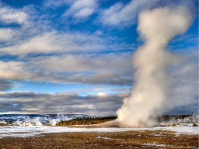 The Old Faithful geyser at Yellowstone
